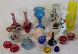 Selection of coloured glass including cranberry salts, opaque glass vase with hand-painted bird