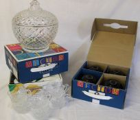 3 boxes of crown green bowls & lidded glass punch bowl with 6 glasses