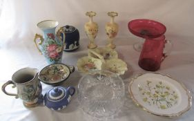 Various ceramics and glassware inc Carlton ware, Wedgwood and cranberry glass