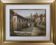Gilt framed oil on canvas of an Italian village street by Fervin 60 cm x 50 cm (size including