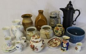 Selection of 20th century ceramics including Aynsley Little Sweetheart, Masons, Larbert Pottery,