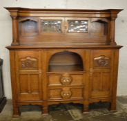 Large late Victorian Arts & Crafts influence sideboard / court cupboard in oak with leaded glass
