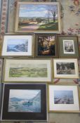 Various prints inc Louth and an acrylic rural painting