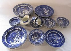 Various blue and white ceramics inc Burleigh ware willow
