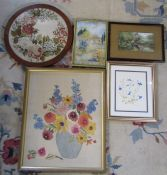 Selection of needlework framed pictures inc vase of flowers, print etc