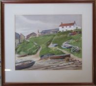 Framed watercolour of moored boats on the beach by Norwich artist Tom Griffiths (1902-1990) signed