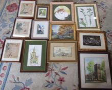 Assorted oil and watercolour paintings, prints and three Chinese silk style paintings etc