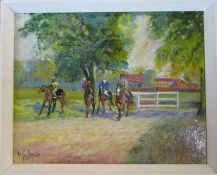 L C Smith Impressionist oil on board of jockeys on horseback with stables in the background,