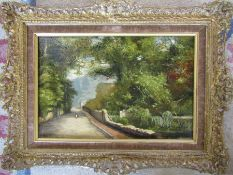 Gilt framed oil on board of a rural scene signed A Vickers 40 cm x 30 cm (size including frame)