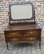 1920/30s oak dressing table chest of drawers W 122cm D 54cm H 160cm