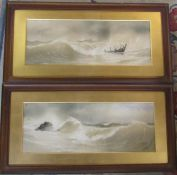 Pair of framed and glazed seascape watercolours by H E Tozer dated 1885/6 80 cm x 40.5 cm (size