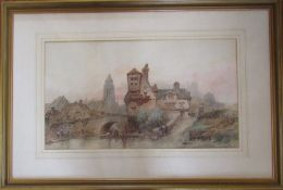 Framed watercolour of a Continental river scene by Paul Marny (1829-1914) 96 cm x 65 cm (size
