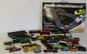 Selection of Hornby trains (2 Intercity), carriages, track and buildings and a Rally Challenge