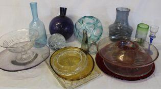 Selection of modern glass vases, bowls etc.