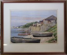 Framed watercolour of a coastal harbour scene by Norwich artist Tom Griffiths (1902-1990) 48 cm x 39