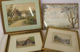 """3 framed watercolours including """"Cottages at Fullers End Near Elsenham"""" by Brigadier E M Jack c."""