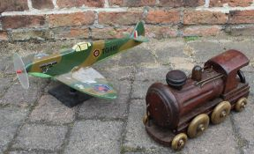 Trench art wooden spitfire and train