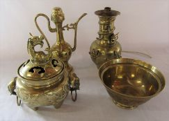 Various Oriental style brassware inc bowl and incense burner