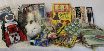 Selection of toys including shop display packs, Funny Flicks flip viewer, Barbie vintage dress,