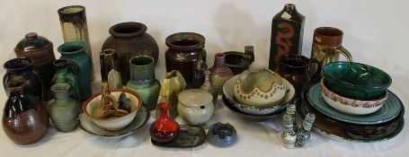 Selection of studio pottery (2 boxes)