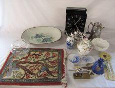 Various ceramics inc Royal Copenhagen, clock, small prayer mat and silver plate etc