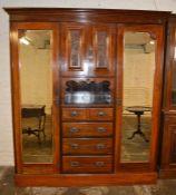 Late Victorian mahogany compendium wardrobe H 213 L 186 D 60cm