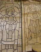 """Two large Pre-Raphaelite style stained glass window plans / cartoons """"Angel of the Holy Grail"""" & """""""