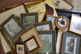 Selection of framed prints, book of Audubon prints etc.