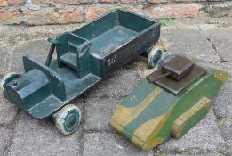 Trench art wooden tank and army lorry stamped British Made