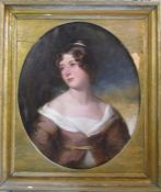 Large gilt framed 19th century oil on board portrait of a young woman 78 cm x 90 cm (size
