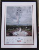Framed 2008 Red Arrows signed limited edition photographic print signed by the 12 pilots, numbered