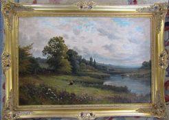 Gilt framed oil on canvas 'On the Ribble' by H Jones 91 cm x 64 cm (size including frame)