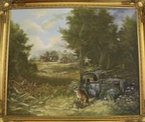 """Large framed oil on canvas entitled """"Our Popular Home"""" depicting foxes in a rural setting by"""