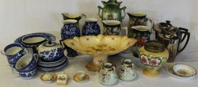 Selection of blue and white crockery, Crown Devon teapot & hot water jug etc. (2 boxes)