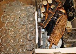 Quantity of glass sundae dishes, puncture repair kits etc.