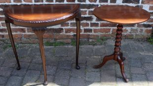 Victorian mahogany bobbin turned tripod table & Regency style demi lune side table