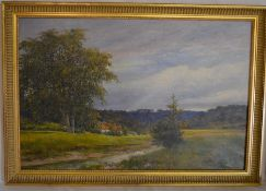 Oil on canvas landscape with cottage in the background & a stream in the foreground signed A Wood 89