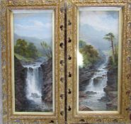 Pair of gilt framed mountainous prints by G Beetholme 62 cm x 32 cm (size including frame)