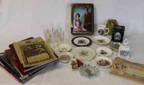 Selection of commemorative items including Souvenir Coronation programme & boxed plastic medal