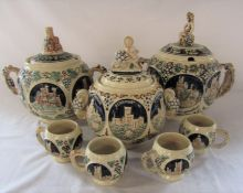 3 German punch bowls with 4 cups H 29, 27 and 32 cm inc 4 L and 3 L