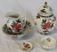 """Old Foley """"Eastern Glory"""" jug and bowl, lidded pot and pin dish and Aynsley Somerset bowl"""