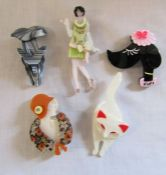 5 brand new Lea Stein style brooches inc dog, cat and Deco ladies