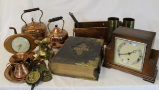 Elliott mantel clock, 2 brass shell cases dated Sept 1917, copper trough, large family bible, copper