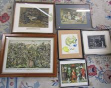 Selection of framed and unframed prints and engravings etc (quantity shown)