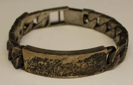 Modern silver identity bracelet 2.86ozt