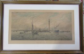 Framed print of the Port of Grimsby by G V Burwood published by Jenkins & Remy Great Grimsby 105