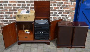 Kenwood P42 turntable (lid still in box) with Kenwood stacking system in cabinet & pair of Kenwood