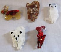 5 brand new Lea Stein style animal brooches inc bears and dogs