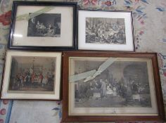 4 framed engravings - Bachelor's Hall, Hogarth - Midnight modern conversation & Scenes from The