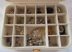 Jewellery box containing quantity of silver jewellery inc earrings, necklaces, ring etc